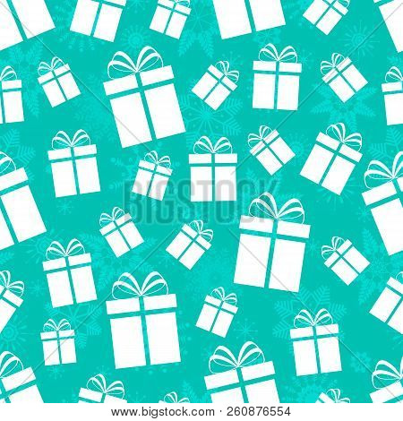 Gift Boxes Seamless Pattern. Winter Holidays Background. Repeated Texture With Presents Icons And Sn
