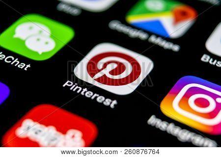 Sankt-petersburg, Russia, September 30, 2018: Pinterest Application Icon On Apple Iphone X Smartphon