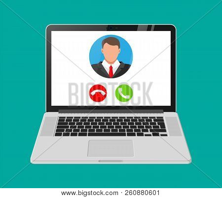 Incoming Video Call On Laptop. Photo Of Man, Decline And Accept Buttons On Notebook Screen. Online M