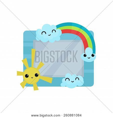 Cute Photo Frame With Sun, Rainbow And Clouds, Album Template For Kids With Space For Photo Or Text,