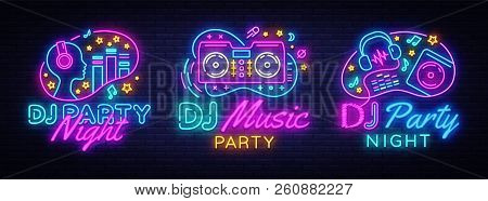 Dj Music Party Neon Sign Collection Vector Design Template. Dj Concept Of Music, Radio And Live Conc
