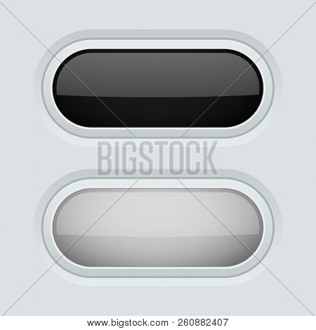 Black And White Oval Push Buttons. Normal And Pushed. 3d Web Interface Elements. Vector Illustration