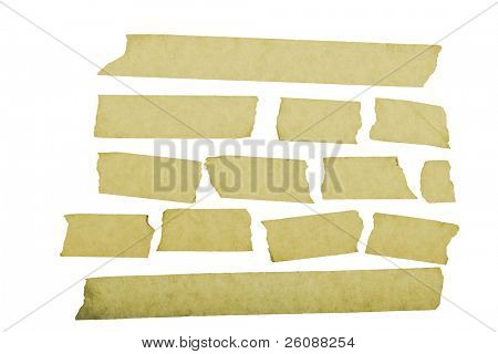 grungy looking masking tape close up isolated on white