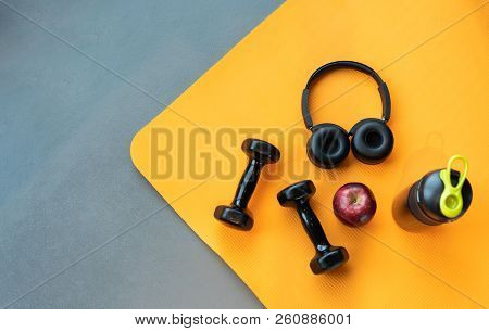 Exercise Workout Equipment At Gym Fitness Training Sport Dumbbell,headphone,apple Fruit, Protein Sha