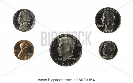 1971 US coins proof set isolated on white