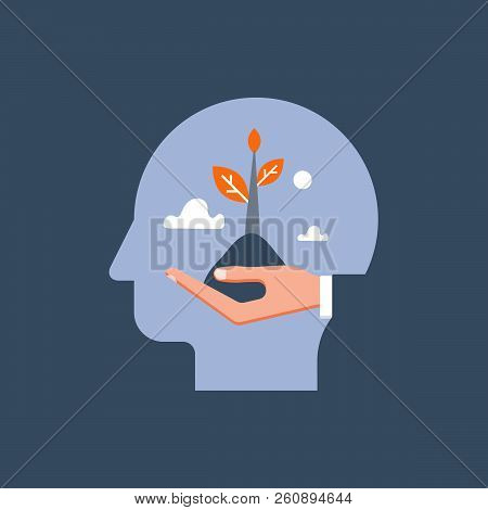 Self growth, potential development, motivation and aspiration, mental health care, positive mindset, psychotherapy and analysis, pursuit of happiness, hand holding steam, vector illustration poster