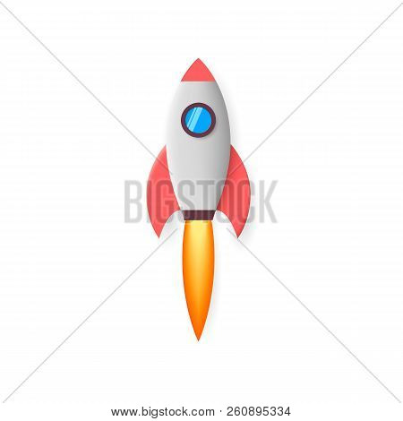 Rocket. Space Rocket Launch. Project Start Up. Flying Cartoon Rocket. Vector Illustration Isolated O
