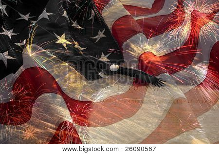 American Flag, flying bald Eagle and Constitution montage