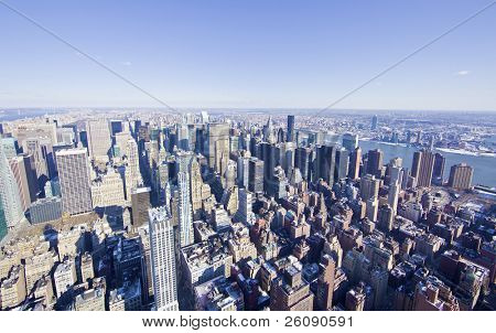 New York City panorama from the empire state building in mid manhattan.