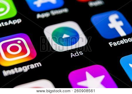Sankt-petersburg, Russia, September 30, 2018: Facebook Ads Application Icon On Apple Iphone X Screen