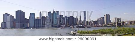 Lower Manhattan with Brooklyn bridge Skyline panarama, New York City