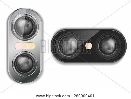 Vector 3d Realistic Dual Camera For Smartphone With Two Lenses And Flash, Isolated On Background. Mo
