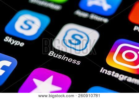 Sankt-petersburg, Russia, September 30, 2018: Skype Business Application Icon On Apple Iphone X Smar