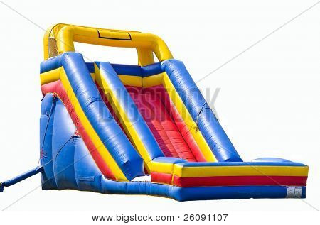bounce house for kids with slide isolated on white