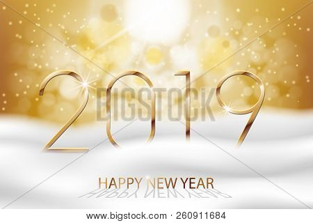 Vector Happy New Year 2019 - New Year Colorful Winter Background With Gold Text. Greetings New Year