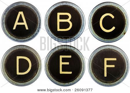 Vintage typewriter letters ABCDEF isolated on white