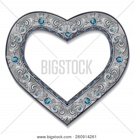 Frame Silver Color With Blue Topaz On White Background