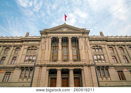 The Palacio De Los Tribunales De Justicia De Santiago. Historic Building In Santiago