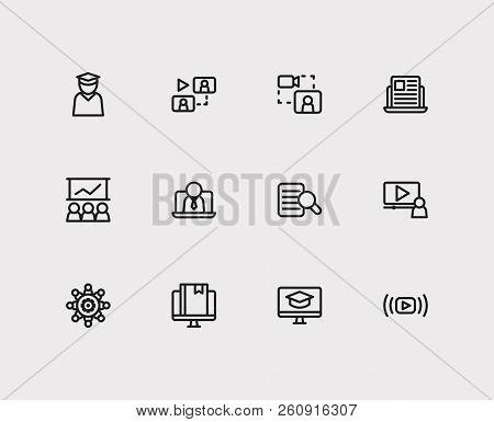 Online Education Icons Set. Education E-learning And Online Education Icons With Education Student,