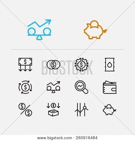Economy Icons Set. Petroleum And Economy Icons With Stability, Mutual Funds And Savings. Set Of Diag