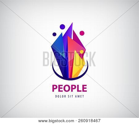 Creative Team Logo. Colorful Abstract People, Faceted Origami Design. Vector Human Logo, Icon Or Emb