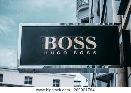 Vilnius, Lithuania - September 06, 2018: Hugo Boss Store Signboard. Hugo Boss Focuses On Developing