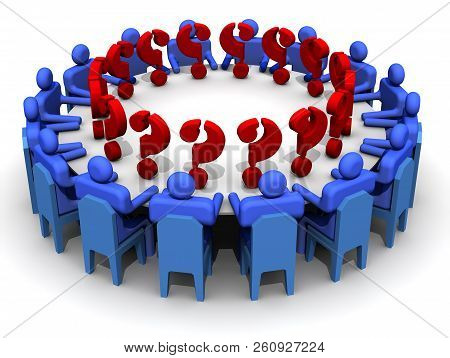 Problem Solving. Symbolic People Sitting At A Round Conference Table With Red Question Marks. The Co