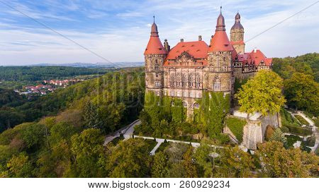 Ksiaz, Poland - September 11, 2018: Castle In Ksiaz Near Walbrzych Drone Aerial View In Autumn