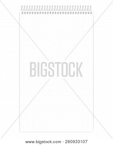 Top Spiral Dot Grid Notebook, Realistic Vector Mockup. Wire Bound Legal Size Notepad With Tear Off S