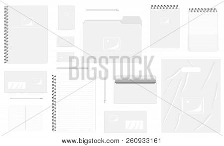 Business Stationery Isolated On White Background, Mock Up Set. A4, A5, B7, Dl Sizes. Corporate Ident