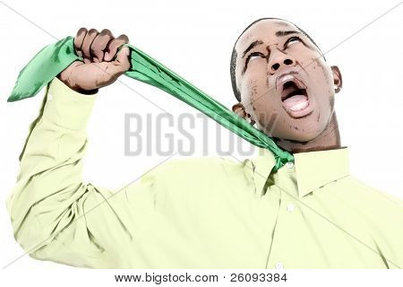 Business Man in green shirt and green tie choking himself. Very funny expression. Shot in studio over white.