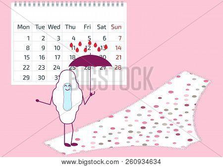 Vector Illustration Of Menstrual Pad With Umbrella, Calendar, Pants. First Woman Menstruation. Menst