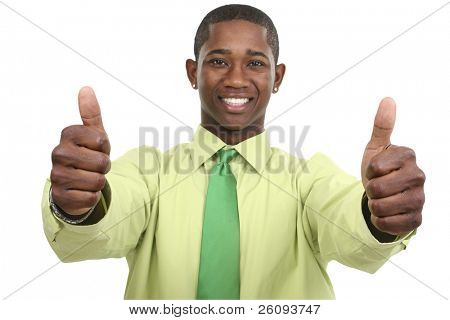 Businessman with Two Thumbs Up.  Focus on hands.  Shot in studio over white.