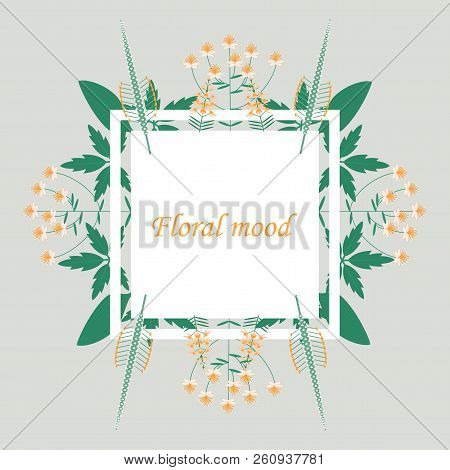 Lettering With Leaves: Floral Mood, Hand Sketched Card Floral Mood. Hand Drawn Floral Mood Lettering