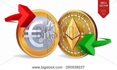 Ethereum To Euro Currency Exchange. Ethereum. Euro Coin. Cryptocurrency. Golden Coins With Ethereum