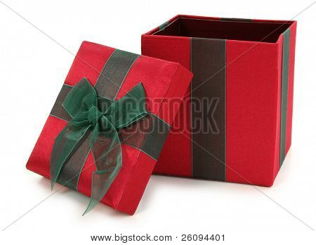 Red and green fabric gift box over white. Top open.