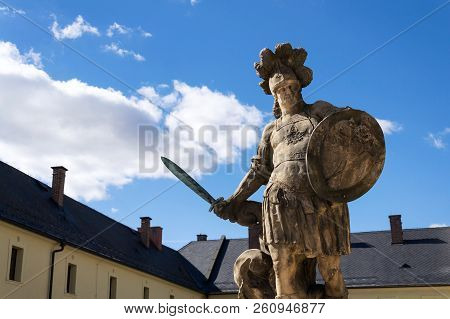 Small Christian warrior statue from Matyas Braun, 1731, Kuks, Hradec Kralove region, Trutnov district, Czech Republic poster