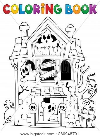 Coloring Book Haunted House With Ghosts - Eps10 Vector Picture Illustration.
