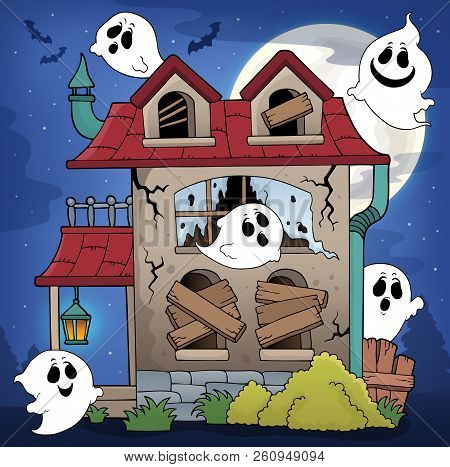 Derelict House And Ghosts Theme 1 - Eps10 Vector Picture Illustration.