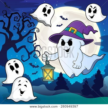 Ghost With Hat And Lantern Theme 8 - Eps10 Vector Picture Illustration.