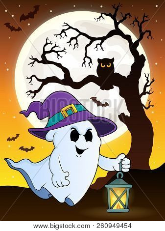 Ghost With Hat And Lantern Theme 9 - Eps10 Vector Picture Illustration.