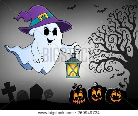 Ghost With Hat And Lantern Topic 2 - Eps10 Vector Picture Illustration.