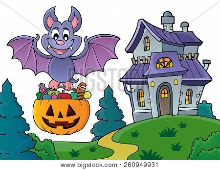 Halloween Bat Theme Image 5 - Eps10 Vector Picture Illustration.