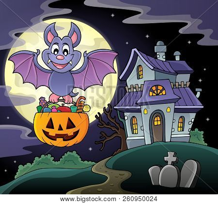 Halloween Bat Theme Image 6 - Eps10 Vector Picture Illustration.