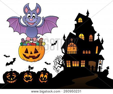 Halloween Bat Theme Image 9 - Eps10 Vector Picture Illustration.