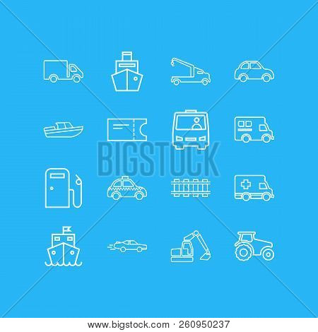 Vector Illustration Of 16 Carrying Icons Line Style. Editable Set Of Shuttle, Cargo Ship, Campervan