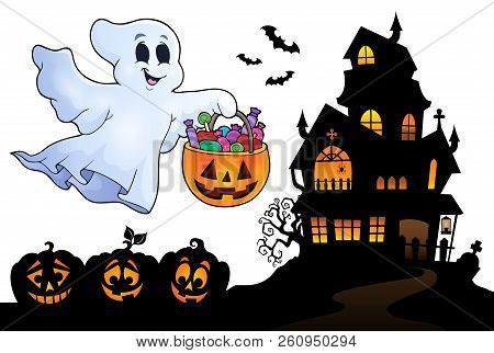 Halloween Ghost Near Haunted House 4 - Eps10 Vector Picture Illustration.