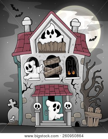 Haunted House With Ghosts Theme 3 - Eps10 Vector Picture Illustration.