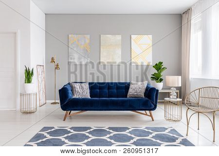 An Elegant Navy Blue Sofa In The Middle Of A Bright Living Room Interior With Gold Metal Side Tables