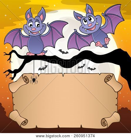 Small Parchment And Cartoon Bats - Eps10 Vector Picture Illustration.